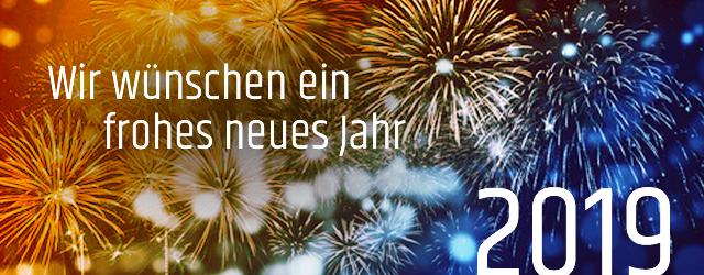 Wir wünschen unseren Kunden und Partnern viel Freude, Glück und Erfolg im neuen Jahr und freuen uns auf ein weiteres Jahr angenehmer Zusammenarbeit.